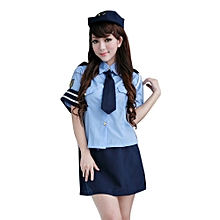 Sexy Shirt Collar Short Sleeve Blouse +Solid Color Wrapped Skirt Women's Cosplay Costume - BLUE