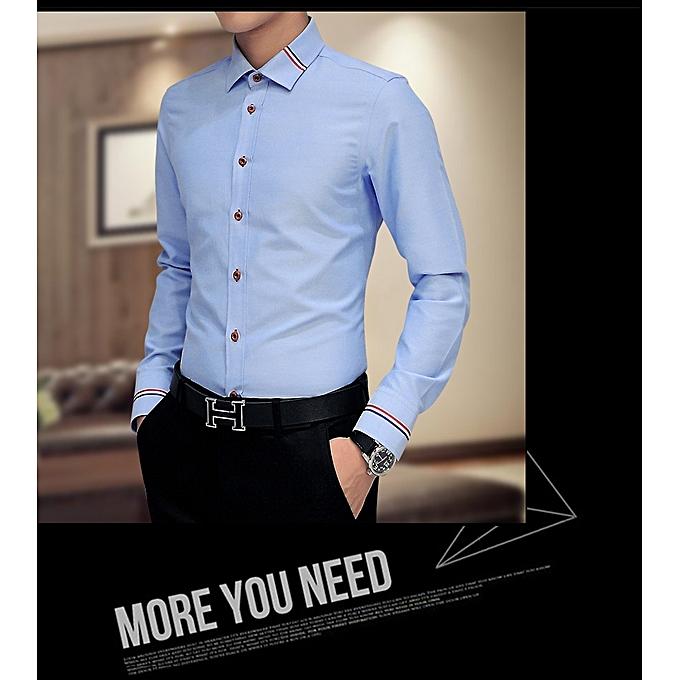 ae17396c770b 2018 New Men Dress Shirts Brand Clothing Fashion Camisa Social Casual Men  Shirt Slim Fit Long