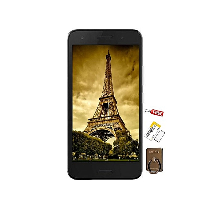 Hot 5 (X559C) 5 5, 1GB, 16GB ROM, 8MP + 5MP Dual Sim - Sandstone Black +  Free Screen Protector + Free Ring Holder