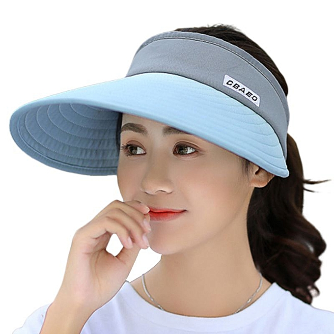 9f0c37c82 Summer Ultra-Large Wide Brim Color Block Sun Visor Hat Letters Printed  Foldable Round Empty Top Cycling Beach Cap Adjustable(Blue)
