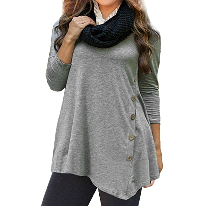 a89ba906fb5 duanxinyv Women Long Sleeve Loose Button Trim Blouse solid color Round Neck  Tunic T-Shirt