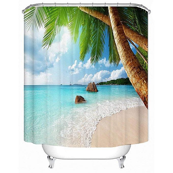 180180cm Bathroom Washroom Tropical Beach Palm Trees Shower Curtain 12 Hooks