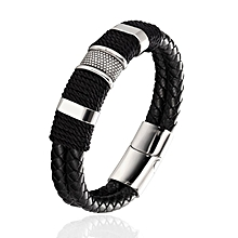 Fashion Men's Bracelet Reverse Magnetic Buckle Bracelet Black 20CM