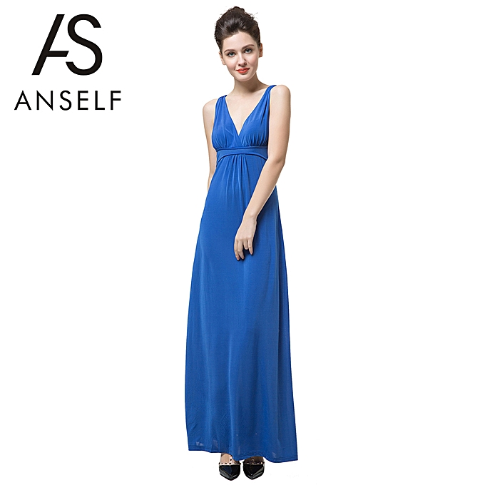 c5a67c72ad2f7 New Elegant Women Maxi Dress Solid Color V Neck Sleeveless Open Back Sexy  Cocktail Party Dress