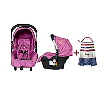 Superior Infant Baby Car Seat/ Carry Cot - Pink & White Polka dots (0-3months) + a free Nursing Cover