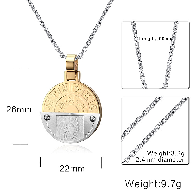 f81c19f543 Stainless steel twelve constellation pendant couple pendant twelve  constellation Necklace PN-396-Cancer Contains
