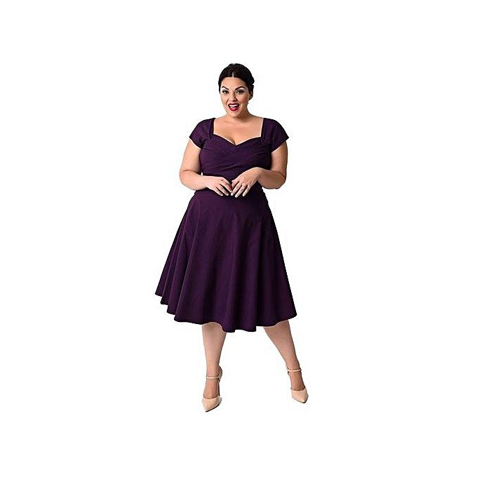 6de7823075d7 RanickenPlus Size Women Casual Short Sleeve Formal Cocktail Solid Swing  Dress PP XL -Purple