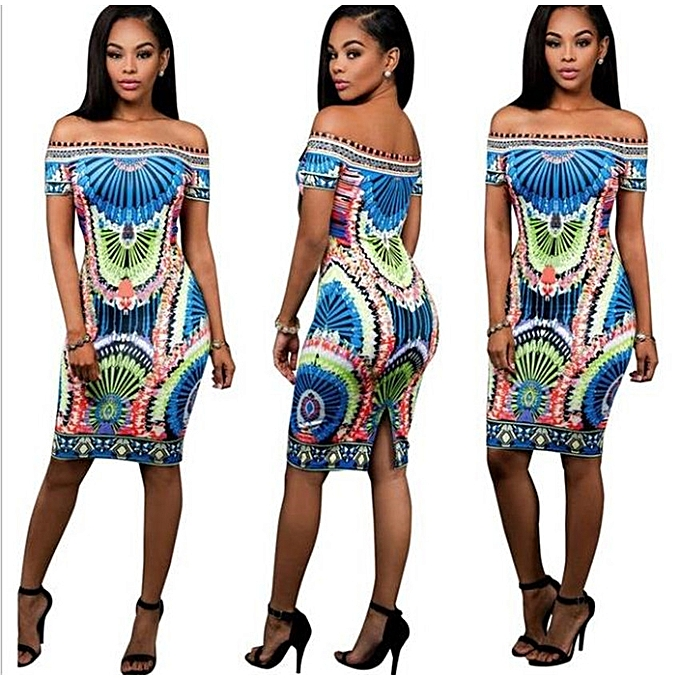 e3d05c6db4894 Generic Womens African Print Off Shoulder Bodycon Dress   Best Price ...