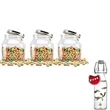 3-Piece 2000ml Airtight Cookie Jar with screw top lid (Clear Glass): Kitchen Preserving Storage Jars + FREE 250ml Water Jar