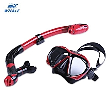 WHALE Professional Diving Water Sports Training Silicone Mask Snorkel Glasses Set_RED WITH BLACK
