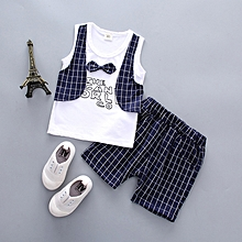 Summer Short Sleeved T-shirts+shorts For Boys 2pcs Suit Blue
