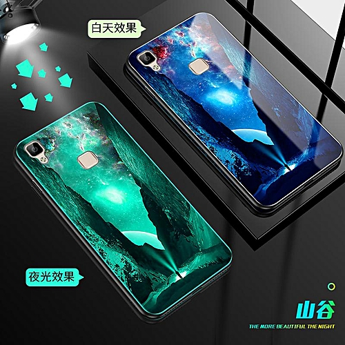 quality design 29ad6 b9a45 Luminous Glass Phone Case For Vivo V3 Tempered Glass + Luxury Silicone  Protective Case Back Cover (Black)