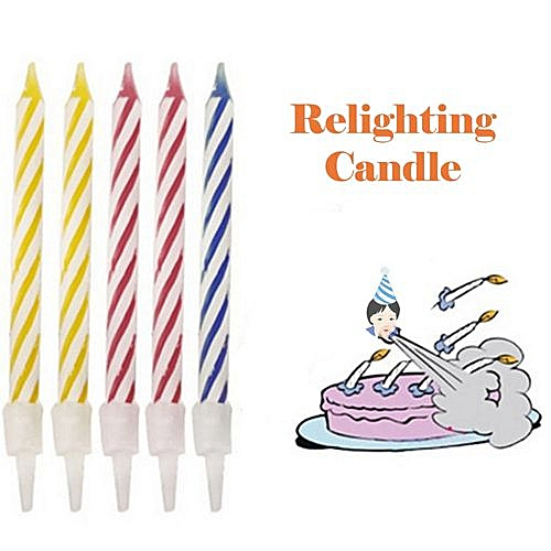 Fashion Braveayong Magic Trick Relighting Birthday Candle 10 Piece Naughty Party Joke Gift Kids Toy As Shown