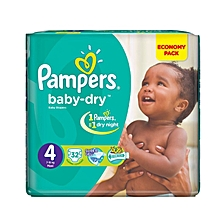 BABY DIAPERS SIZE 4(7-18kgs), 32  pieces/count VALUE PACK