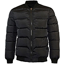 Tectores Men's Winter Pure Color Zipper Stand Collar Baseball Coat Cotton Outwear Tops