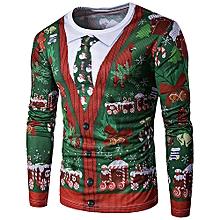 Crew Neck 3D Christmas Tie Costume Faux Twinset Print T-Shirt - COLORMIX