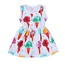 Infant Baby Girl Kids Sleeveless Dress Ice Cream Casual Sundress Print Dresses