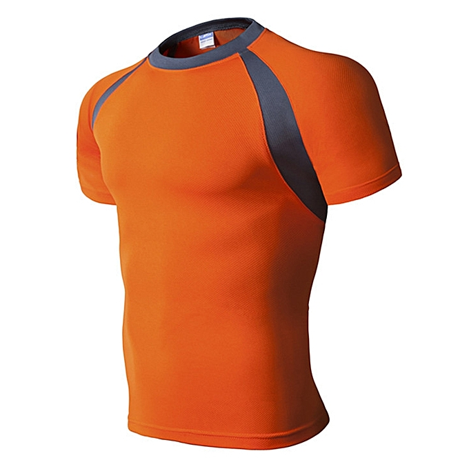 d611bf739 Men's Running Fitness Slim Quick-drying T-shirt Breathable Color Block  Short Sleeve Tops