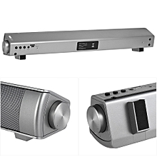 Wireless Bluetooth Soundbar Subwoofer Stereo Speaker Home Theater Music Player with Remote Control Hands-Free TF Card Slot AUX-IN Grey