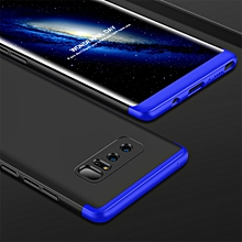 GKK for Galaxy Note 8 PC 360 Degrees Full Coverage Protective Case Back Cover (Black + Blue)