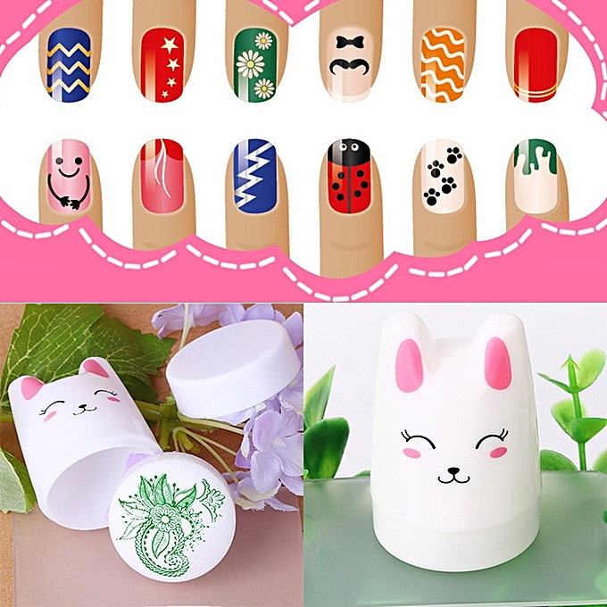 Buy Generic Nail Art Kawaii Cat White Handle Printing Stamp Tools ...