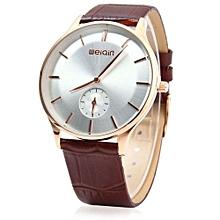 Male Ultrathin Analog Quartz Watch Leather Band-COFFEE GOLDEN WHITE
