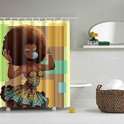 Stylish African Woman Shower Curtain Bathroom Decoration Specification180 180cm StyleTZ161232