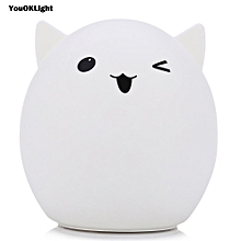 YouOKLight DC 5V 0.4W LED USB Rechargeable Cute Night Light Color Changing Bedside Lamp WHITE CUTE PIG