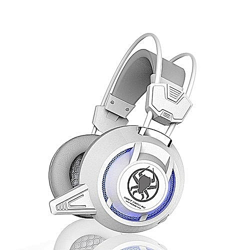 Gaming Headset  For PS4, XBox, PC with HD Microphone 2.2 m Cable -with led  Light-white