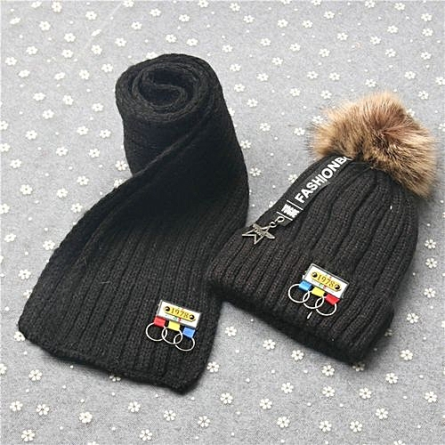 6961ee309b1b80 Eissely Baby Boys Girls Winter Warm Letter Hat Children Knitting Ball Hats  Scarf Sets