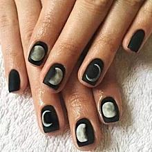 Fancyqube Black Matte Feeling Gel Polish Nail Art Tips Moon Eclipse Harajuku Style Resin False Nail Tips Decoration (Color: Black)