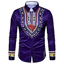 Geometric National Print Long Sleeve Shirt - PURPLE