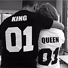 Valentine Shirts Woman Cotton King Queen 01 Funny Letter Print Couples Leisure T-shirt Man Tshirt Short Sleeve O neck T-shirt-Black For Man