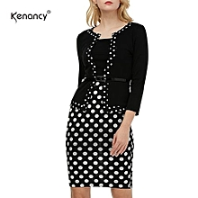 Work Dress Color Stiching Three Quarter Sleeve Pencil Dress With Belt - Black