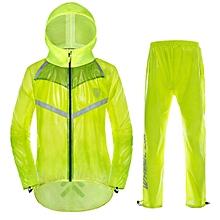 Unisex Outdoor Windproof Waterproof Rainwear Suits Cycling Sports Rain Coat Pants (Green-L)