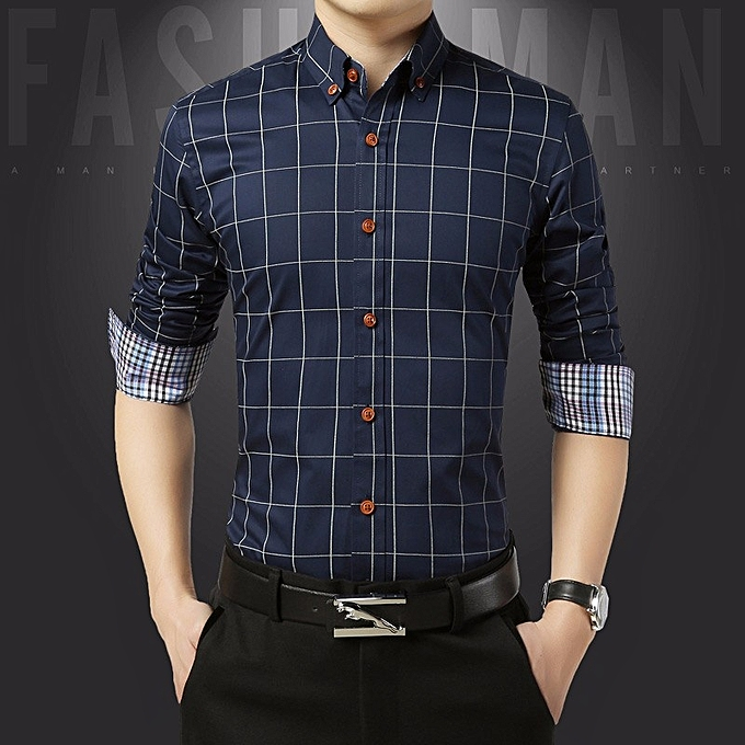 Cotton Slim Fit Check Shirts Men Plaid Business Formal Shirts (Blue) 4c62f0960