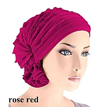 Women Ruffle Chemotherapy Hat Turban -Rose Red