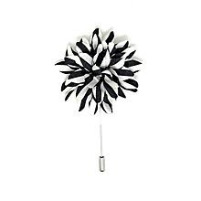 Black and White Striped Lapel Pin