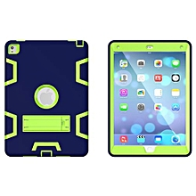 """For Ipad 7 Case, Armor-Box Three Layer Heavy Duty Rugged Hybrid Protective With KickStand Case For IPad Pro 9.7"""" (Navy Blue/Green)"""