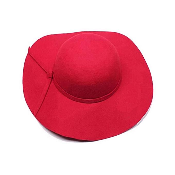 Tectores Fashion Trend Women Girls Wool Wide Brim Felt Bowler Fedora Hat  Lady Floppy Cloche RD 458b529846a