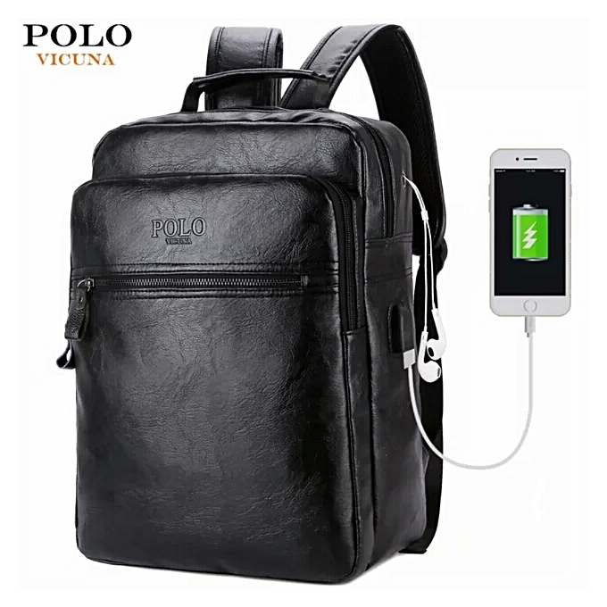 Usb Charge Designer Leather Travel Backpack And Laptop Bag