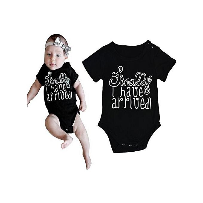 57ab1b777638 Fashion Braveayong Cute Newborn Infant Baby Boy Girls Bodysuit Romper  Jumpsuit Clothes Outfits 100 -Black