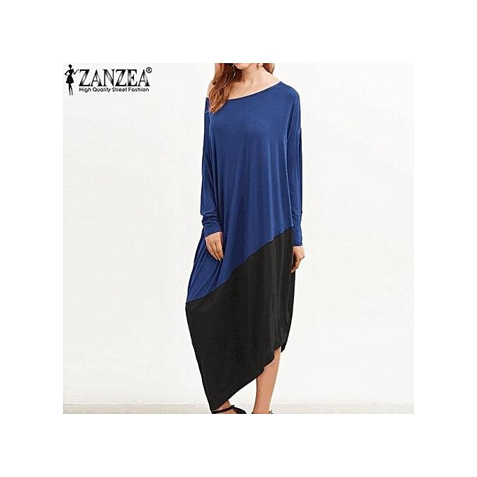 65a5d55deeb ZANZEA Women Round Neck Long Sleeve Loose Casual Kaftan Vintage Asymmetrical  Hem Long Shirt Dress Plus