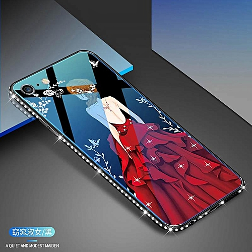 info for 15268 4f045 Case For IPhone 6 Plus 6s Plus Blue Ray Tempered Glass Back Cover Diamond  Bling Soft TPU Protect Cover Dress Girl Phone Shell 194969 (Cherry)