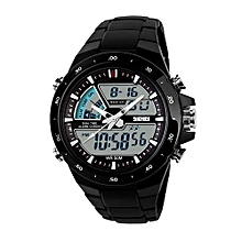 Fohting SKMEI Watch Sport Quartz Wrist Men Analog Digital Waterproof Military  -Black