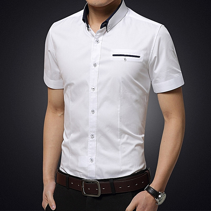 670227231 Men's Formal Shirts Short Sleeve Slim Fit Business Casual Shirts (White)