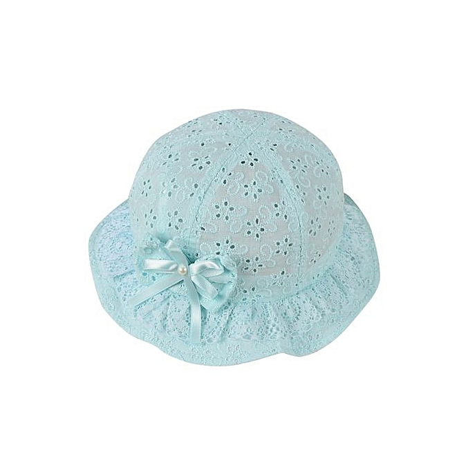 7115411cebf Girls Mesh Baby Embroidered Beach Cap Bow Flower Cute Summer Bucket Hat Cap-Sky  Blue