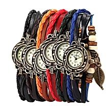 6PC Womens Bracelet Weave Wrap Quartz Leather Leaf Beads Wrist Watches
