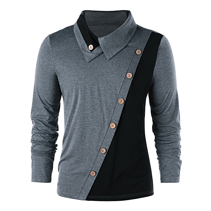 Button Embellished Long Sleeve T-shirt - BLACK AND GREY - BLACK AND GREY - 036d8f62870