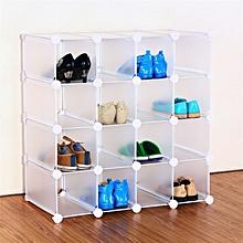 Interlocking 16 Pairs Cube Shoe Organiser Storage Rack Display Stand